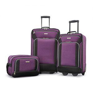 American Tourister Fieldbrook XLT Softside Luggage, Purple/Black, 3-Piece Set
